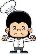 Cartoon Angry Chef Chimpanzee - stock illustration