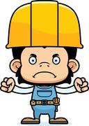 Cartoon Angry Construction Worker Chimpanzee - stock illustration