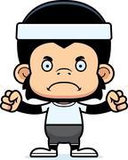 Cartoon Angry Fitness Chimpanzee - stock illustration