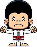 Cartoon Angry Karate Chimpanzee - stock illustration