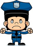 Cartoon Angry Police Officer Chimpanzee - stock illustration