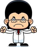 Cartoon Angry Scientist Chimpanzee - stock illustration