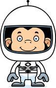 Cartoon Smiling Astronaut Chimpanzee - stock illustration