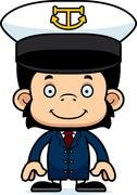 Cartoon Smiling Boat Captain Chimpanzee - stock illustration