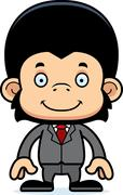 Cartoon Smiling Businessperson Chimpanzee - stock illustration