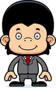 Cartoon Smiling Businessperson Chimpanzee Stock Illustration