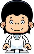 Cartoon Smiling Doctor Chimpanzee Stock Illustration