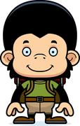 Cartoon Smiling Hiker Chimpanzee - stock illustration