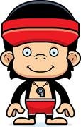 Cartoon Smiling Lifeguard Chimpanzee Stock Illustration