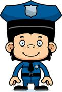 Cartoon Smiling Police Officer Chimpanzee Stock Illustration