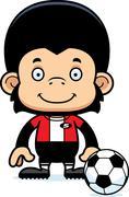 Cartoon Smiling Soccer Player Chimpanzee - stock illustration