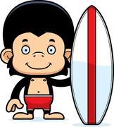 Cartoon Smiling Surfer Chimpanzee - stock illustration