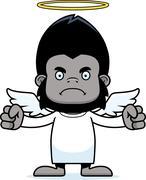 Cartoon Angry Angel Gorilla Stock Illustration