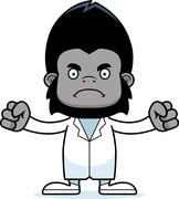 Cartoon Angry Doctor Gorilla - stock illustration