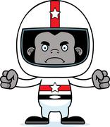 Cartoon Angry Race Car Driver Gorilla - stock illustration
