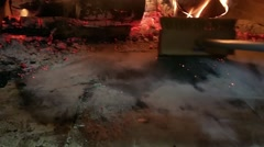 Cleaning a pizza oven, before making pizzas Stock Footage