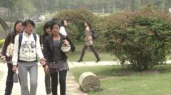 Chinese university students, Xiamen, China - stock footage