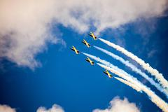 RUSS aerobatic team on the International Aviation and Space salon MAKS-2015 - stock photo
