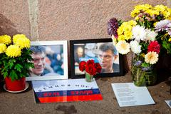 MOSCOW, RUSSIA - SEPTEMBER 1, 2015: Flowers in the murder place of the Russia Stock Photos