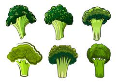 Isolated green ripe broccoli vegetables Stock Illustration