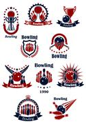 Stock Illustration of Bowling retro icons with balls and ninepins