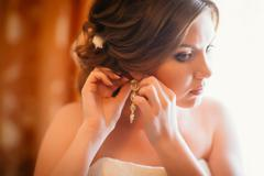 Closeup portrait of beautiful bride - soft focus Stock Photos