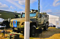 MOSCOW, RUSSIA - AUG 2015: Reconnaissance vehicle KAMAZ-53949 pr Stock Photos