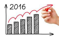 Growth Graph Year 2016 Concept Stock Photos