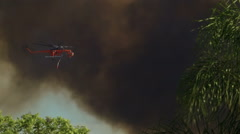 Air Crane Helicopter dropping water on fire Stock Footage