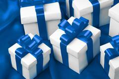 gift on blue satin background - stock photo