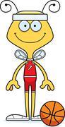 Cartoon Smiling Basketball Player Bee - stock illustration