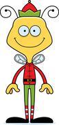 Cartoon Smiling Xmas Elf Bee - stock illustration