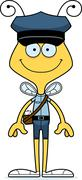 Cartoon Smiling Mail Carrier Bee - stock illustration