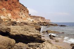 Sea coast and cliffs in Spain during the ebb Stock Photos