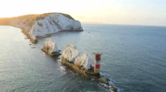 Aerial Drone Isle of Wight Needles coastline Channel Stock Footage