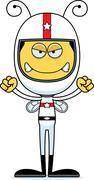 Cartoon Angry Race Car Driver Bee - stock illustration