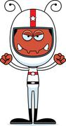 Cartoon Angry Race Car Driver Ant - stock illustration