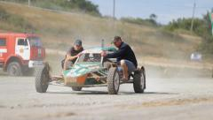 buggy transport mechanics after the finish of the race - stock footage