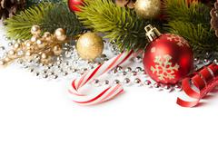 Christmas border with ornament - stock photo
