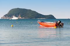 Lifeboat in the Laganas Bay, Zakynthos Island Stock Photos