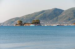 Cameo Island and Agios Sostis port on Zakynthos - stock photo