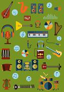 Musical flat instrument and device icons Stock Illustration