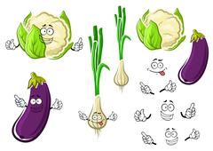 Cauliflower, onion and eggplant vegetables Stock Illustration