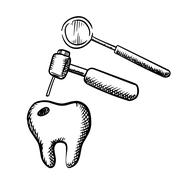 Tooth with decay, dental drill and mirror Stock Illustration