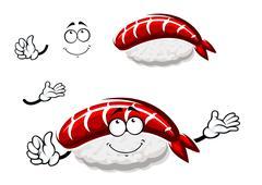 Cartoon nigiri sushi with marinated shrimp - stock illustration