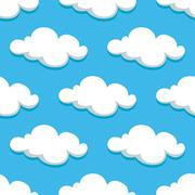 White clouds and sky seamless pattern Stock Illustration