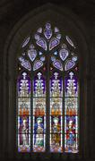 Stained-glass window in Seville cathedral, Spain, Andalusia Stock Photos