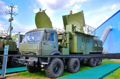 MOSCOW, RUSSIA - AUG 2015: mobile radar presented at the 12th MA Stock Photos