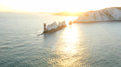 Aerial Drone Needles UK Lighthouse Helipad sea sunrise Stock Footage