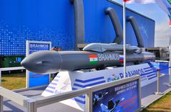 MOSCOW, RUSSIA - AUG 2015: supersonic cruise missile BrahMos pre - stock photo